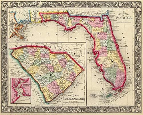 County Map of Florida - 1860 - Map Poster