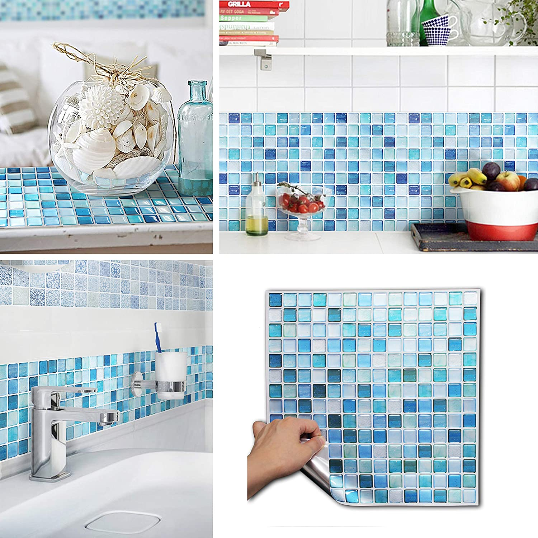 BEAUSTILE Decorative Tile Stickers Peel and Stick Backsplash Fire Retardant Tile Sheet (2pcs) (L, N.Blue)