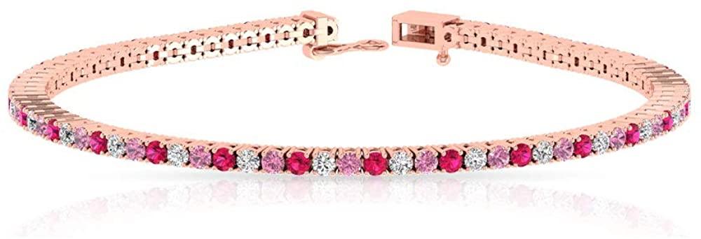 3.48 Carat Certified Multi Stone Women Charm Tennis Bracelet, Antique Alternating Gemstone Diamond Bracelet, Ruby Pink Tourmaline Birthstone Bracelets
