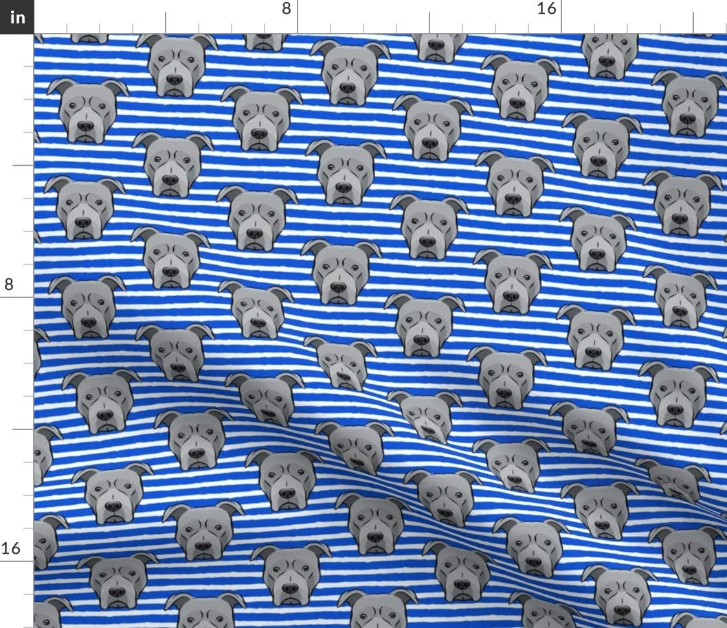 Spoonflower Fabric - Gray Bull Stripes Blue Pitbull Face Cute Head Nursery Animal Printed on Chiffon Fabric by The Yard - Sewing Fashion Apparel Dresses Home Decor