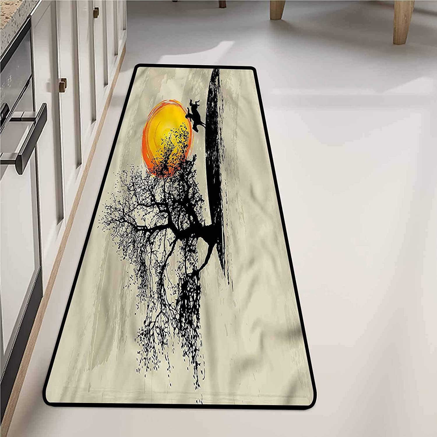 Runners Rugs for Hallways 24 x 72 Inch, Western Setting Sun Lonely Tree Non-Slip Carpet, Room Decor
