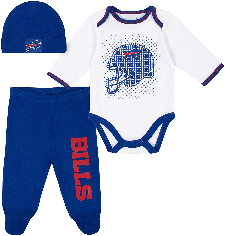 NFL Buffalo Bills 3 Pack Bodysuit Footed Pant and Cap Registry Gift Set, Blue/White Buffalo Bills, 3-6M