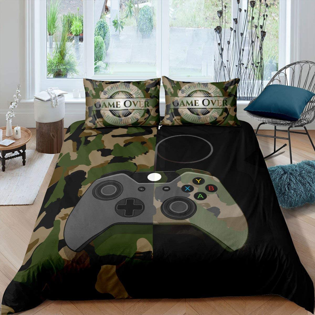 Gamer Bedding Set Teens Boys Camouflage Gamepad Printed Comforter Cover Army Green Video Games Decor Player Gaming Duvet Cover for Adult Girls Kids Camo Game Console Pattern Soft Bespread, Queen Size