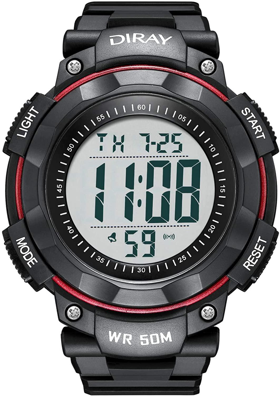 DIRAY Mens Outdoor Sports Adventure Spirit Analog Digital Electronic Strap Alarm Clock Night Vision Multi-Function Watch Leather Strap