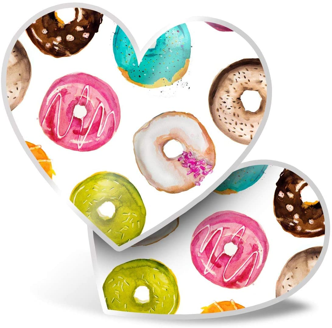 Awesome 2 x Heart Stickers 7.5 cm - Funky Colourful Donuts Doughnuts Cool Fun Decals for Laptops,Tablets,Luggage,Scrap Booking,Fridges,Cool Gift #8480