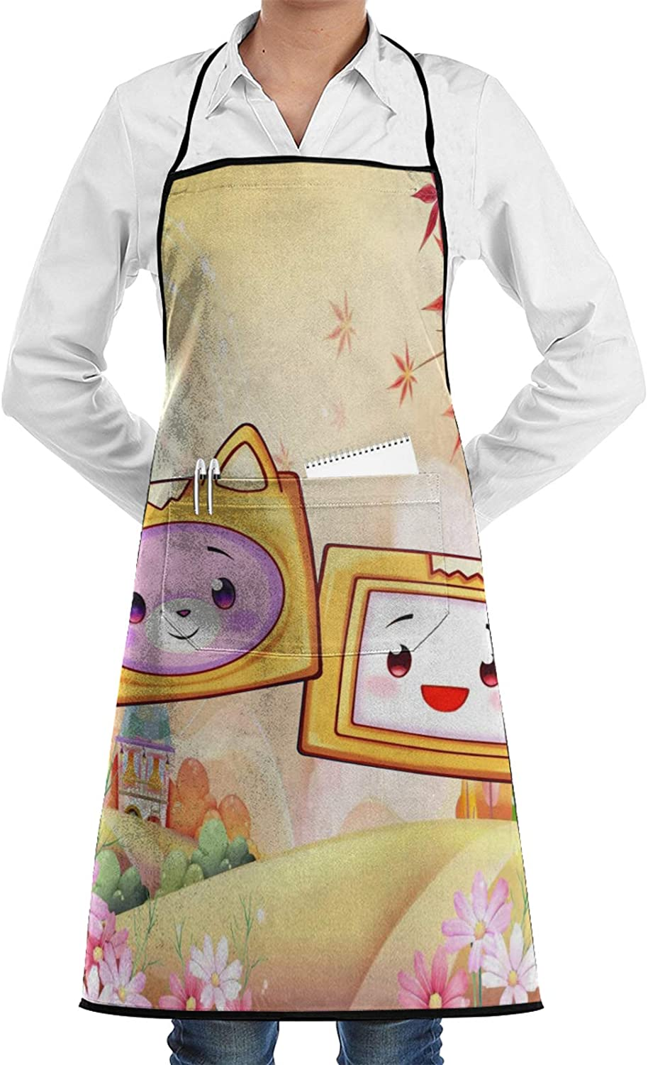 Terry B Dosxyaa Lankybox Merch Lankybox Boxy Adult Funny Apron Kitchen Apron with Pockets Waterdrop Resistant Bib with Pockets Adjustable Universal for BBQ, Baking, Painting, Cooking