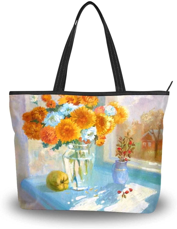 50 Cent Sunflower Peer Glass Bottle Tote Bag, Polyester Lightweight Women Shoulder Bag with Zip, Large Stylish Handbag Purse for Hiking Gym Travel Beach