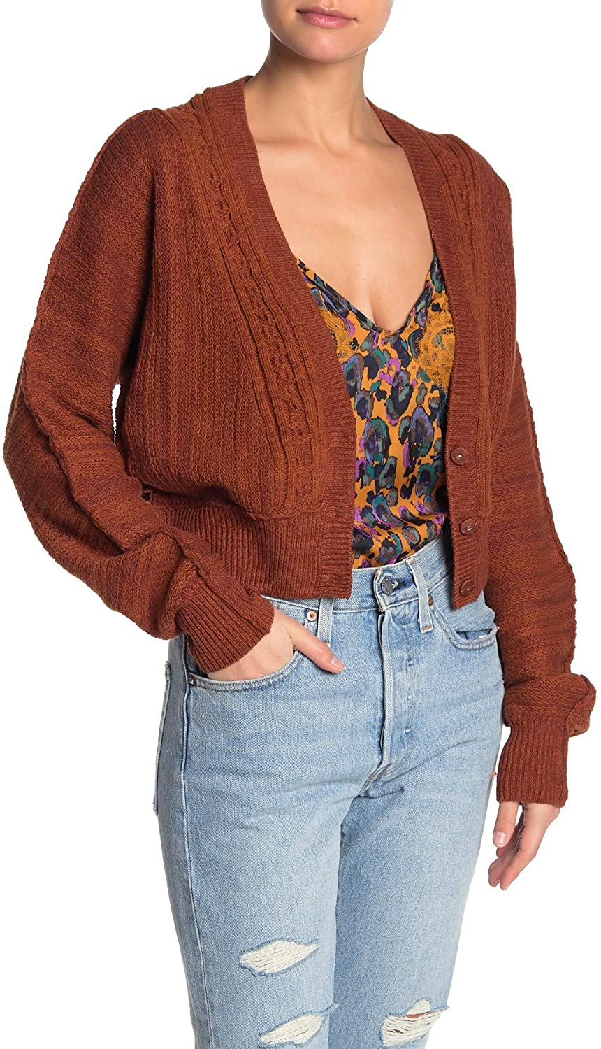 Free People Women's Moon River Cropped Cardigan Sweater in Sierra Combo Size Small