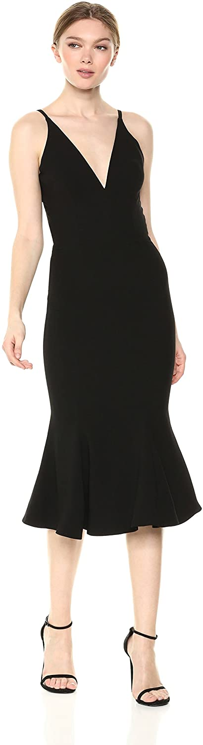 Dress the Population Womens Isabelle Plunging Spaghetti Strap Mermaid Fitted Midi Dress