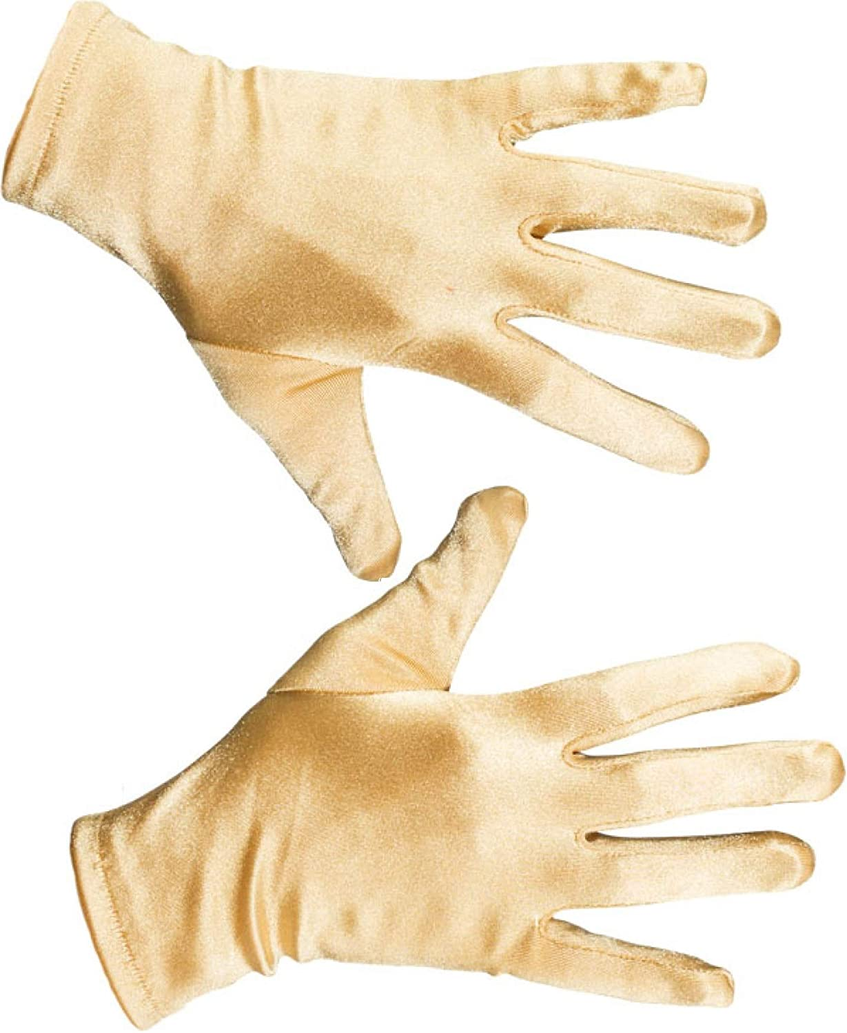 Ladies Mens Gold Satin Short Gloves Christmas Disco Fancy Dress Costume Outfit Accessory
