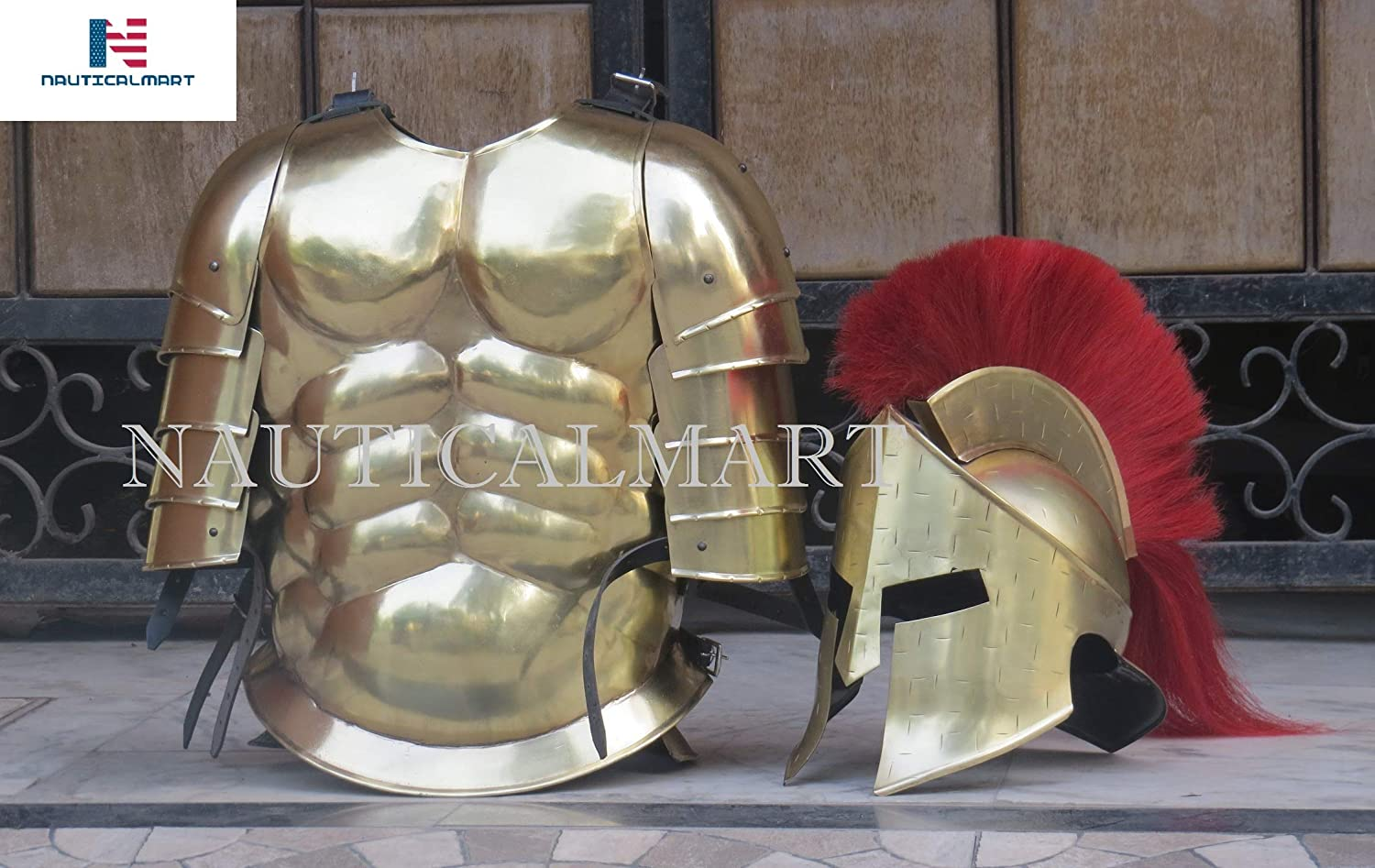 Roman Greek Muscle Armor with Pauldron Collectible Greek Costume Cuirass 300 Spartan Medieval Helmet Halloween Costume