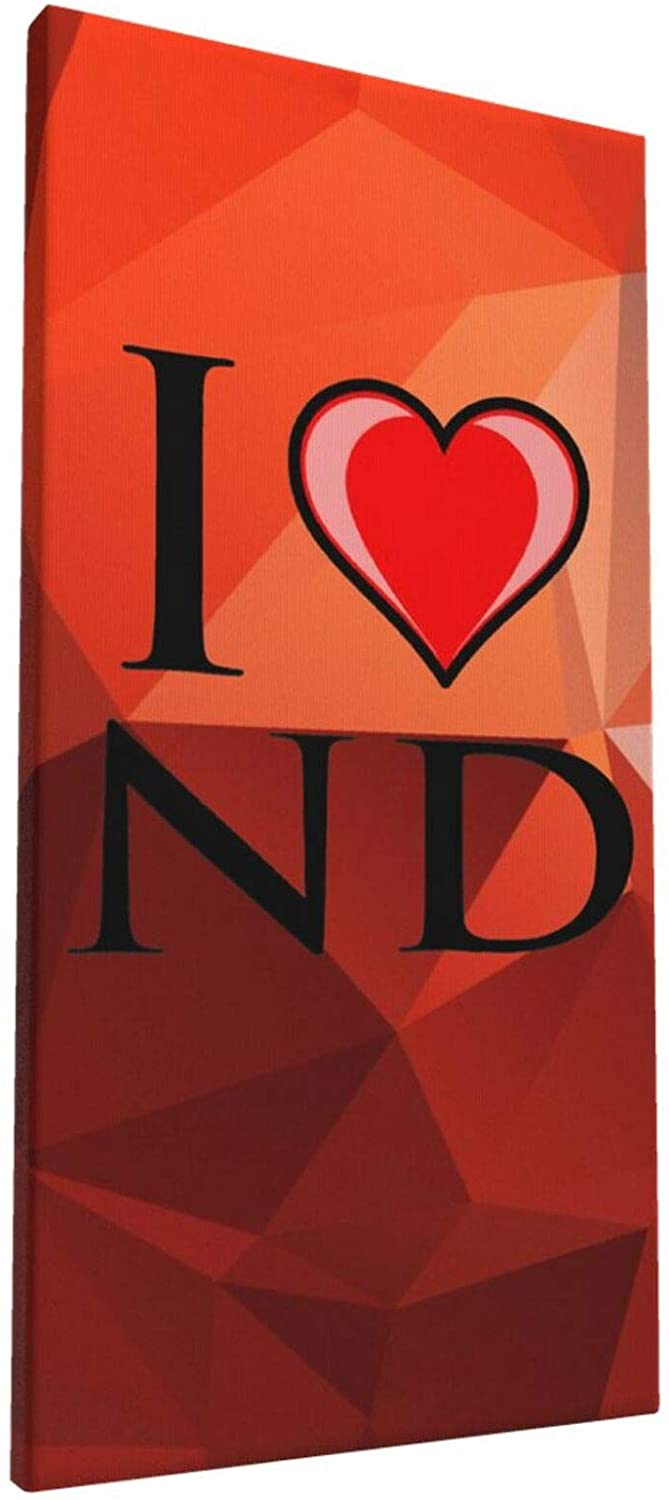 8x16 Inch Wall Art I Love ND North Dakota Painting on Canvas for Bedroom Home Decorations Wall Decor