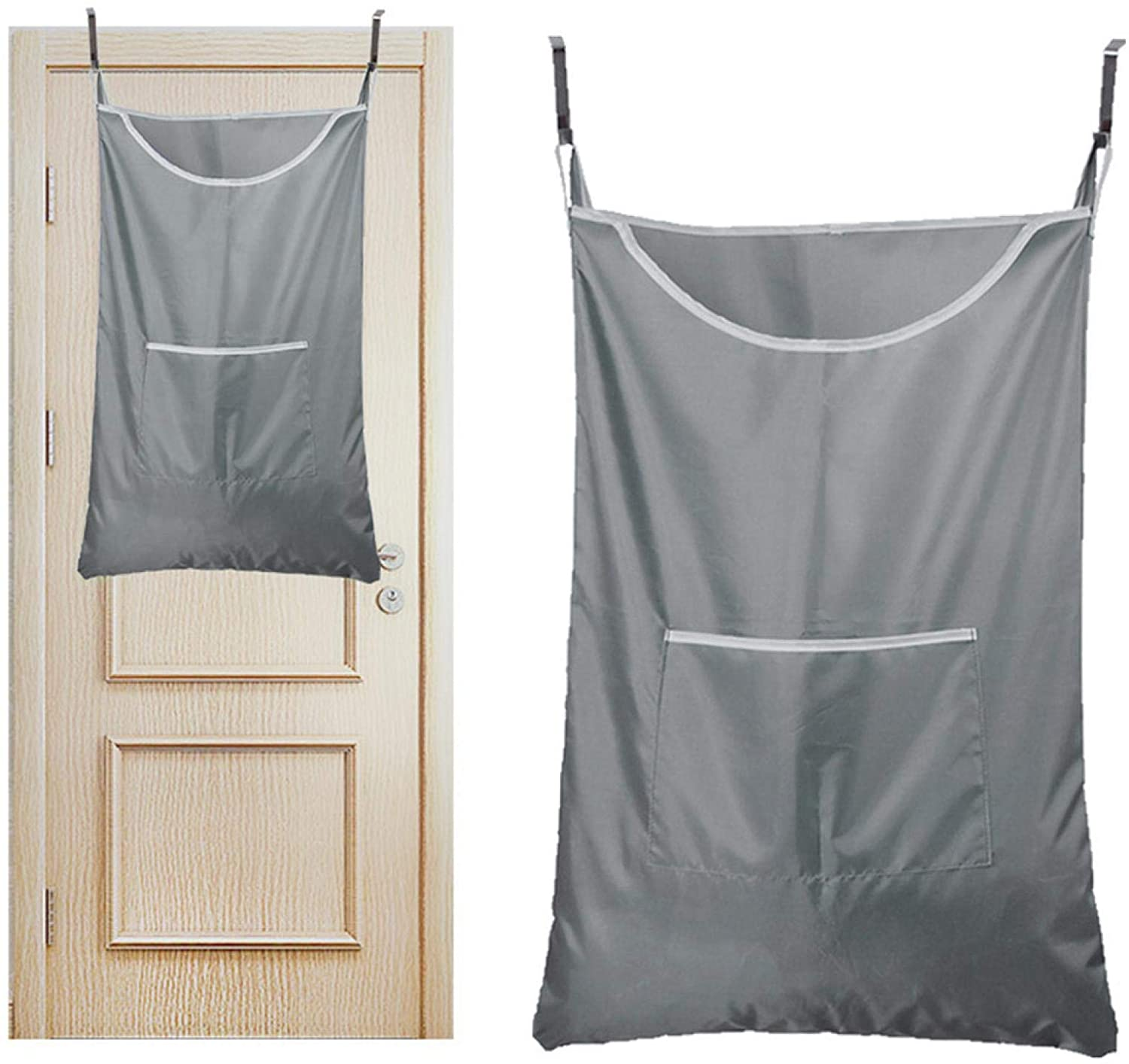 Door Hanging Laundry Hamper Bag, Rip-Stop Toy Storage Bag, Foldable & Space Saving Corner Laundry Organiser with 2PCS Hanging Door Hook and Transparent Suction Cup Hooks, Machine Washable Oxford