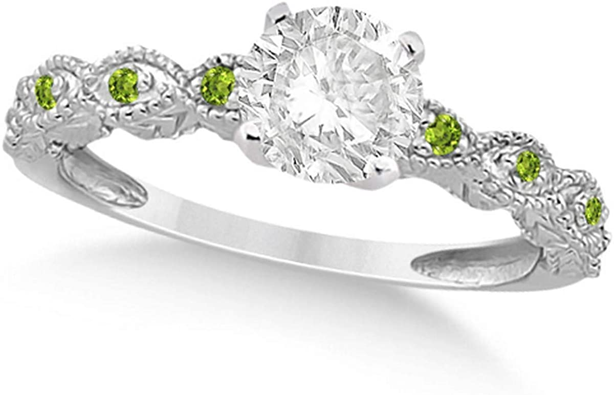 Ladies Vintage Diamond and Peridot Engagement Ring w/Marquise Style Shank 18k White Gold 0.75ct