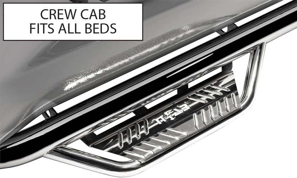 N-FAB HPD0984CC-SS Polished Stainless Podium SS; Cab Length Dodge Ram 1500 09-15.5, 2500 / 3500 / 4500 Crew Cab All Beds 09-18