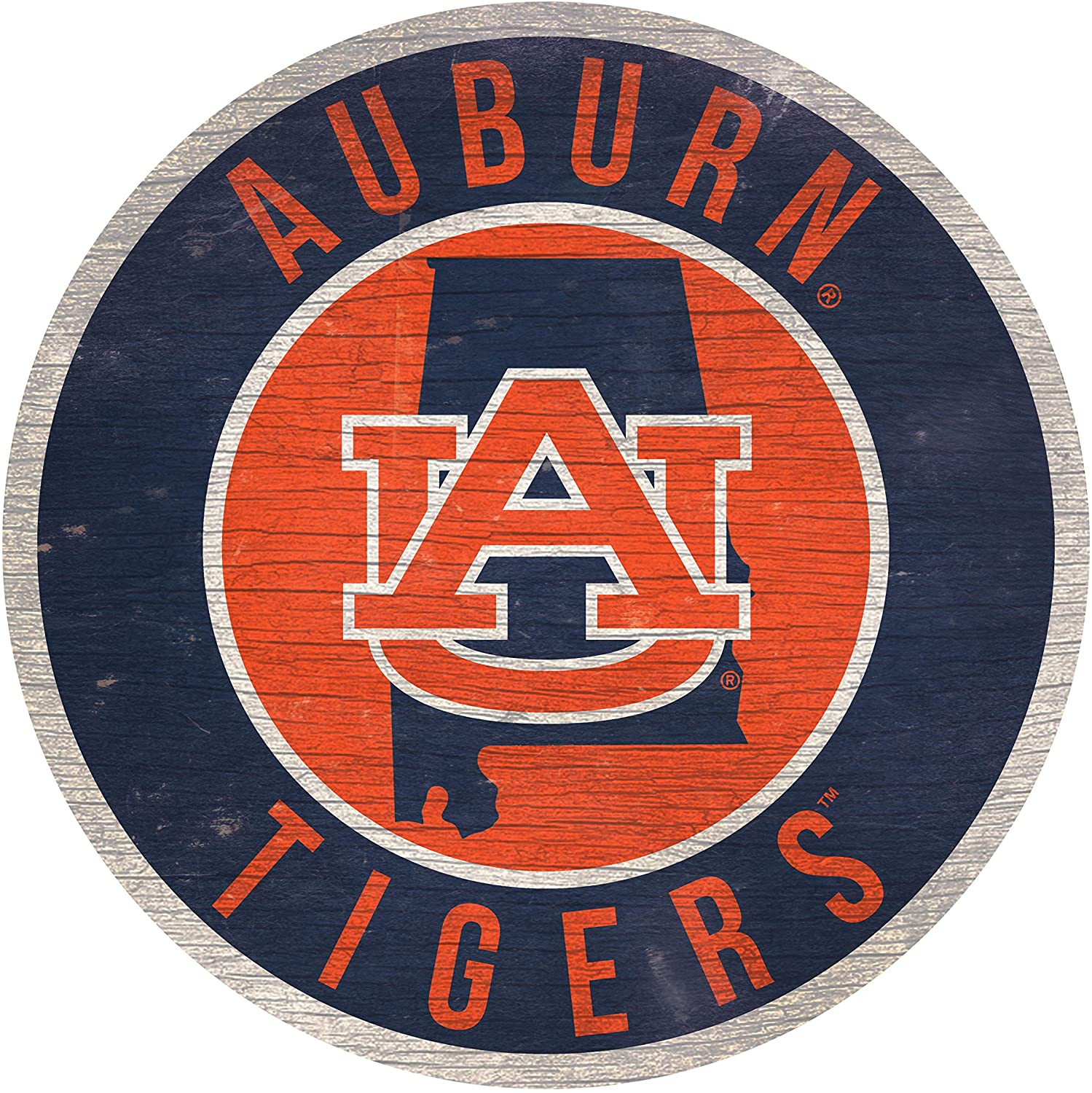 NCAA Auburn 12 Circle with State and Team Logo Wood Sign
