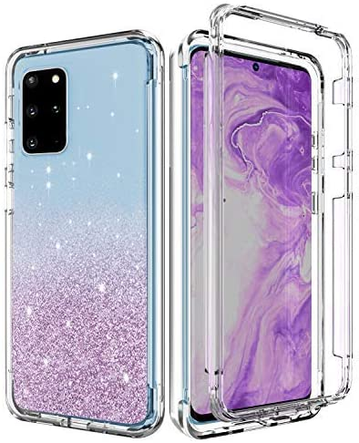 Casy Mall Case for Galaxy S20 Plus, Stylish Glitter Protective Clear Case with Front PC Frame(Without Built-in Screen Protector) for Samsung Galaxy S20 Plus 2020 Release