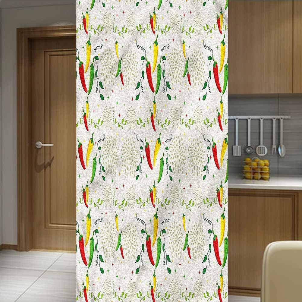 LCGGDB Vegetables ONE Piece 3D Printed Window Film Privacy Glass Film,Mexican Food Hot Sauce Non Adhesive Frosted Home Office Film Privacy Window Sticker,35.6