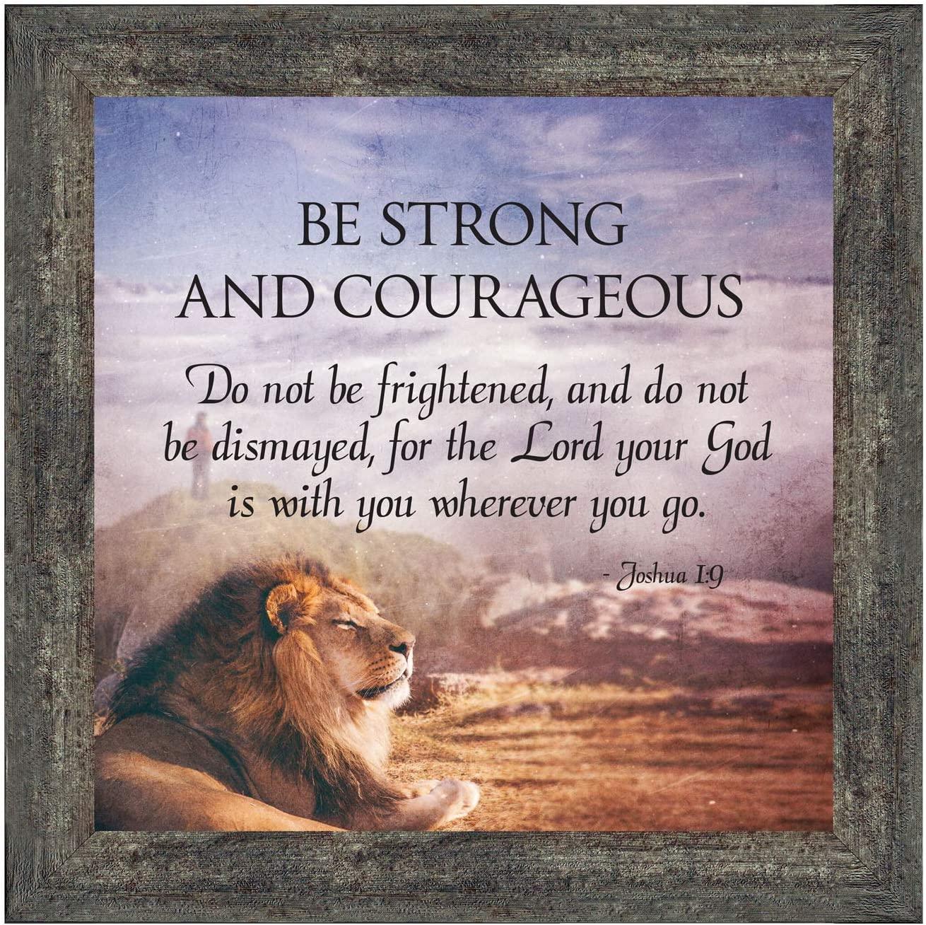 Crossroads Home Décor Be Strong and Courageous, Joshua 1:9, Bible Verse Wall Decor, 8712BW