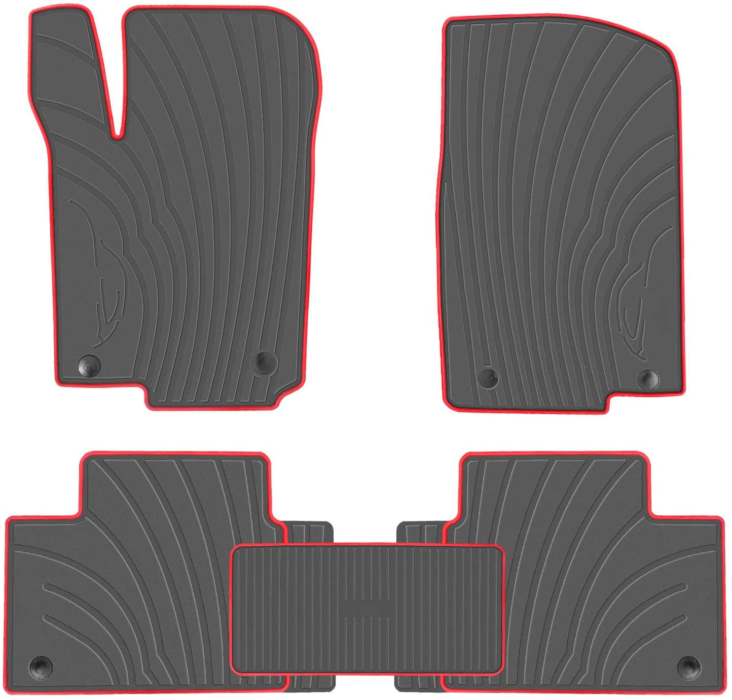San Auto Car Floor Mats Fit for 2013-16 Mercedes-Benz GL350/GL450, 2016-18 Mercedes-Benz GLE350, 2017-19 Mercedes-Benz GLS450 Black Red Rubber Front & 2nd Seat Auto Floor Liners All Weather Heavy Duty