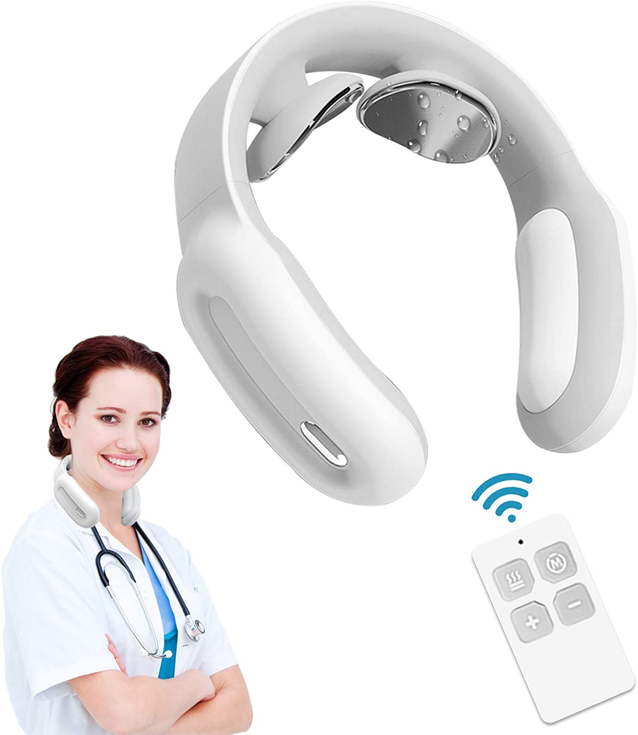 Neckology Massager for Neck with Electric Pulse Pain Relief, Intelligent Shiatsu Simulation with Heat, Mute Cordless Deep Kneading Massage in Home Office Car Travel(White N3000)