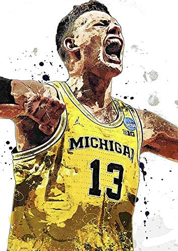 Professional Basketball Players Sport Stars Moritz Wagner Michigan Wall Art Poster Print Size A3 (30cm x 42cm/11in x 17in) Unframed