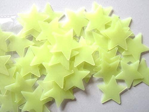 HEYEJET 100PC Kids Bedroom Stars Wall Stickers Beautiful Fluorescent Glow in The Dark Romantic Home Wall Window Decoration Stickers