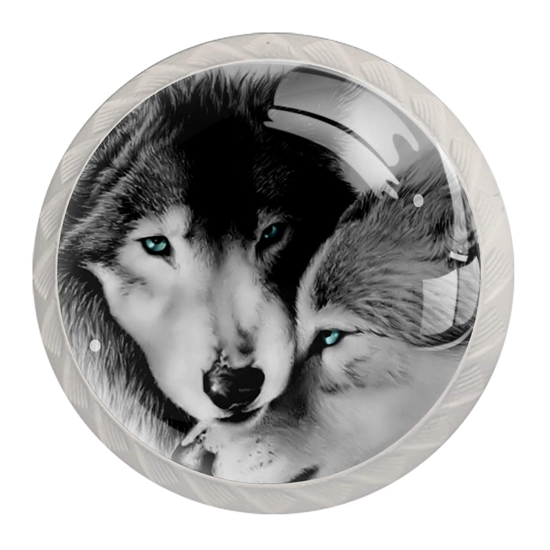 Dresser Knobs Wolf Family Plastic Decorative Cabinet Drawer Cupboard Furniture Door Single Hole Pulls Handles 4 Pieces 3.5×2.8CM
