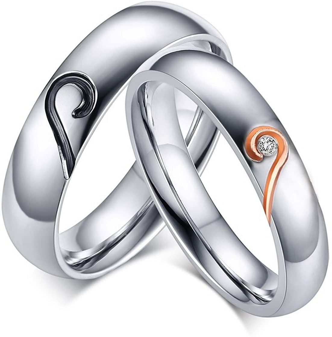 WOWJEW Jewelry & Romantic Love Heart Black Rose Gold Titanium Steel CZ Wedding Ring Engage Rings