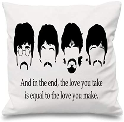 Festival-Fashion Quote Cushion Cover Cotton Throw Pillow Case Gift The Love You Take Beatles White