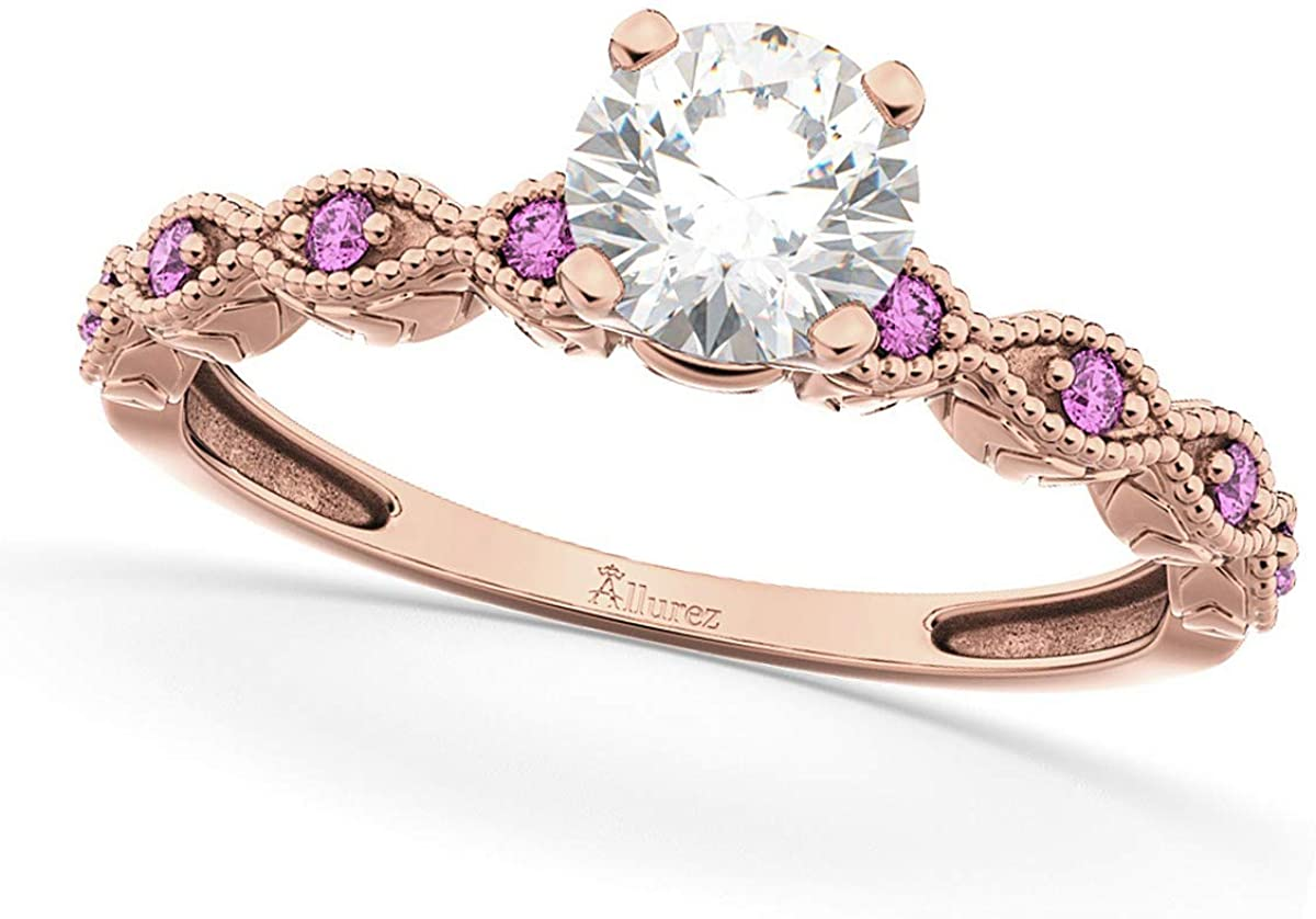 Ladies Vintage Diamond and Pink Sapphire Engagement Ring w/Marquise Style Shank 14k Rose Gold 1.50ct