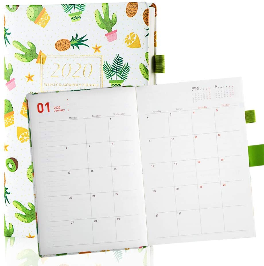 Day Planner 2020 Weekly Monthly Leather Planner with Stickers 12 Months A5 Schedule Agenda Calendar for Woman 5.8 x 8.5 — Yellow