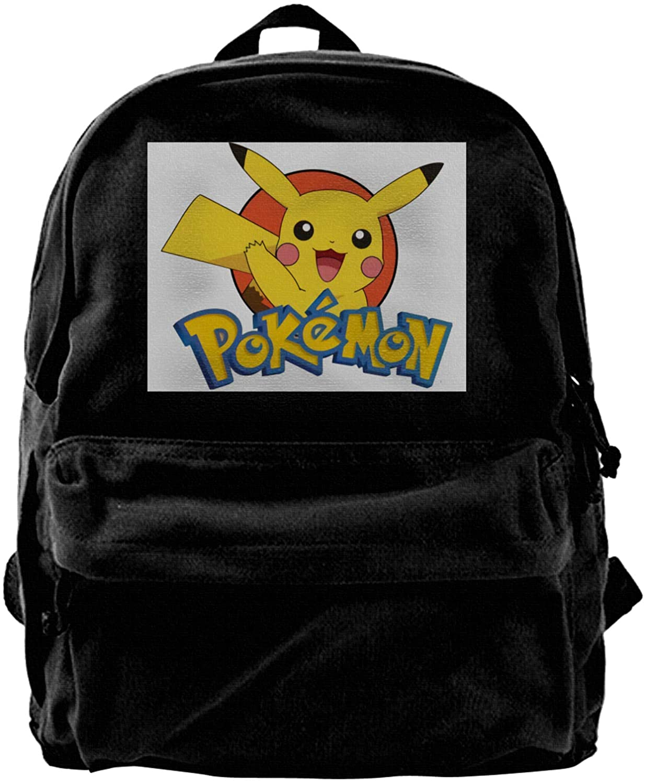 Fejarx Pikachu Canvas Backpack, Durable Rucksack, Travel Bag, Men and Women.