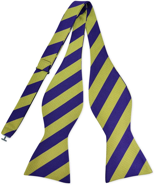 PenSee Mens Self Bow Tie Classic Stripe Woven Silk Bowties