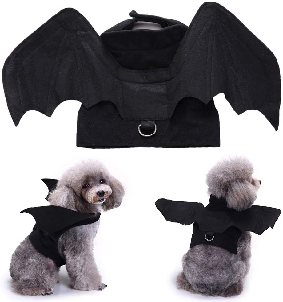 ocijf179 Halloween Pet Dog Puppy Bat Shape Clothes Soft Cosplay Costume Vest Apparel - L