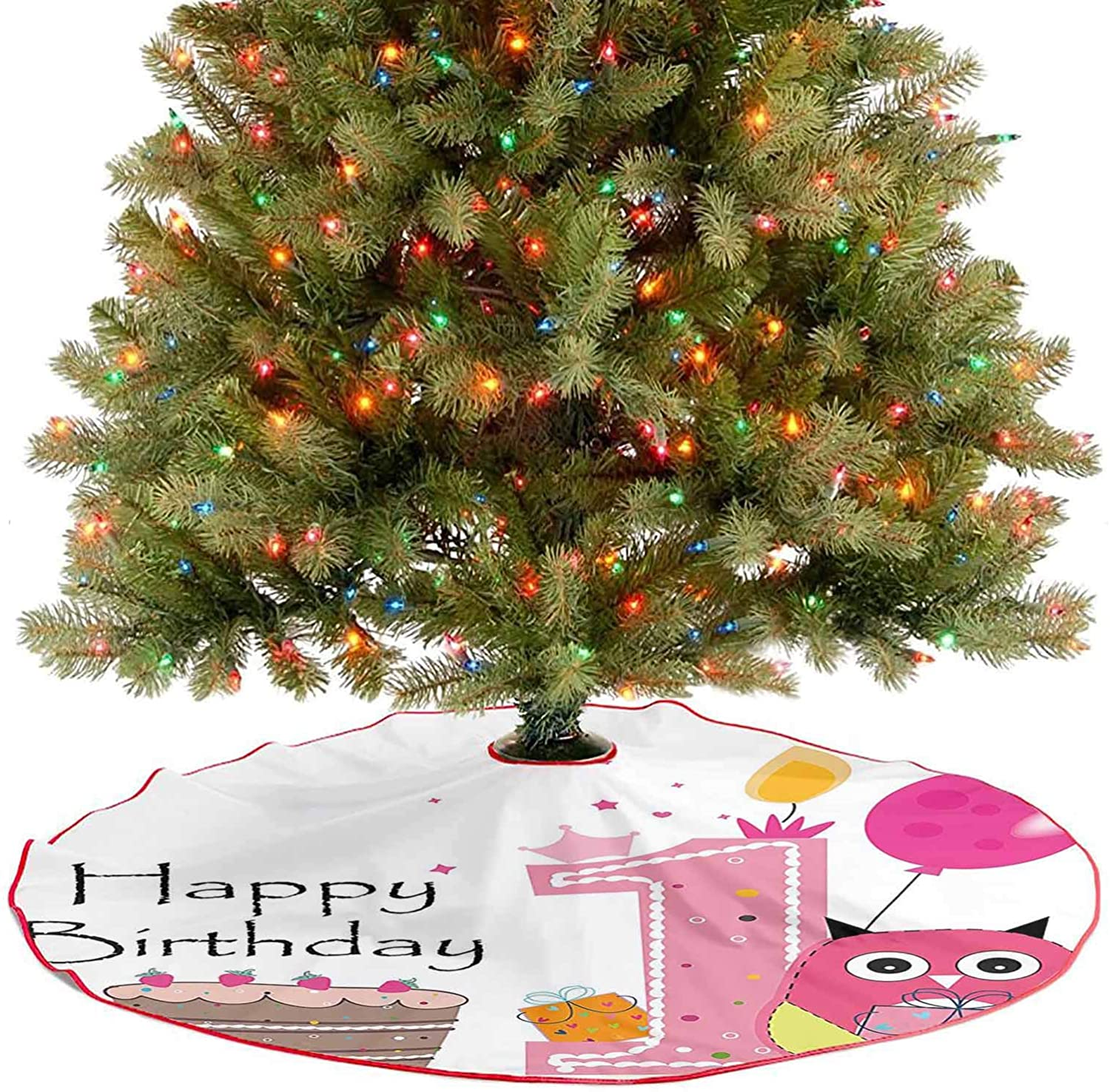 Adorise Tree Skirts Mat First Birthday Cake Candle Sketchy Cartoon Owl Image Brown Hot Pink and Christmas Decoration Perfect for Your Holiday Decor - 48 Inch