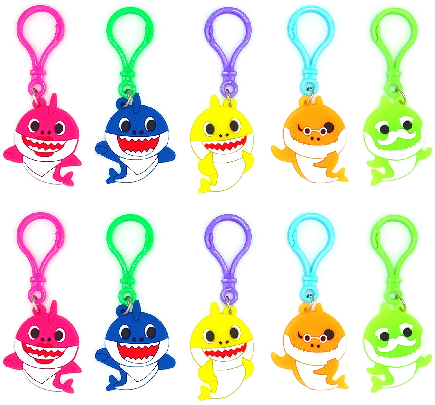 25 Pack Baby Cute Shark Keychains Toys for Boys Girls Kids Shark Theme Birthday Party Supplies Party Bag Pendant Gift Fillers Key Tags Goodie Bag Stuffer Holiday Charms Suppliers