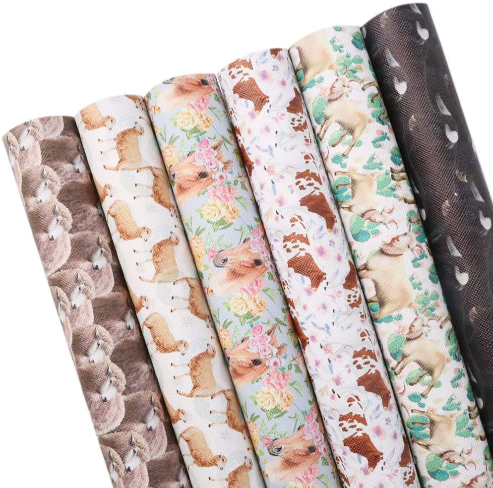 David accessories Animal Pattern Printed Faux Leather Sheets Synthetic Leather Fabric 6 Pcs 7.8 x 13.3 (20cm x 34cm) Felt Back for DIY Earrings Bows Making (Animal Pattern)