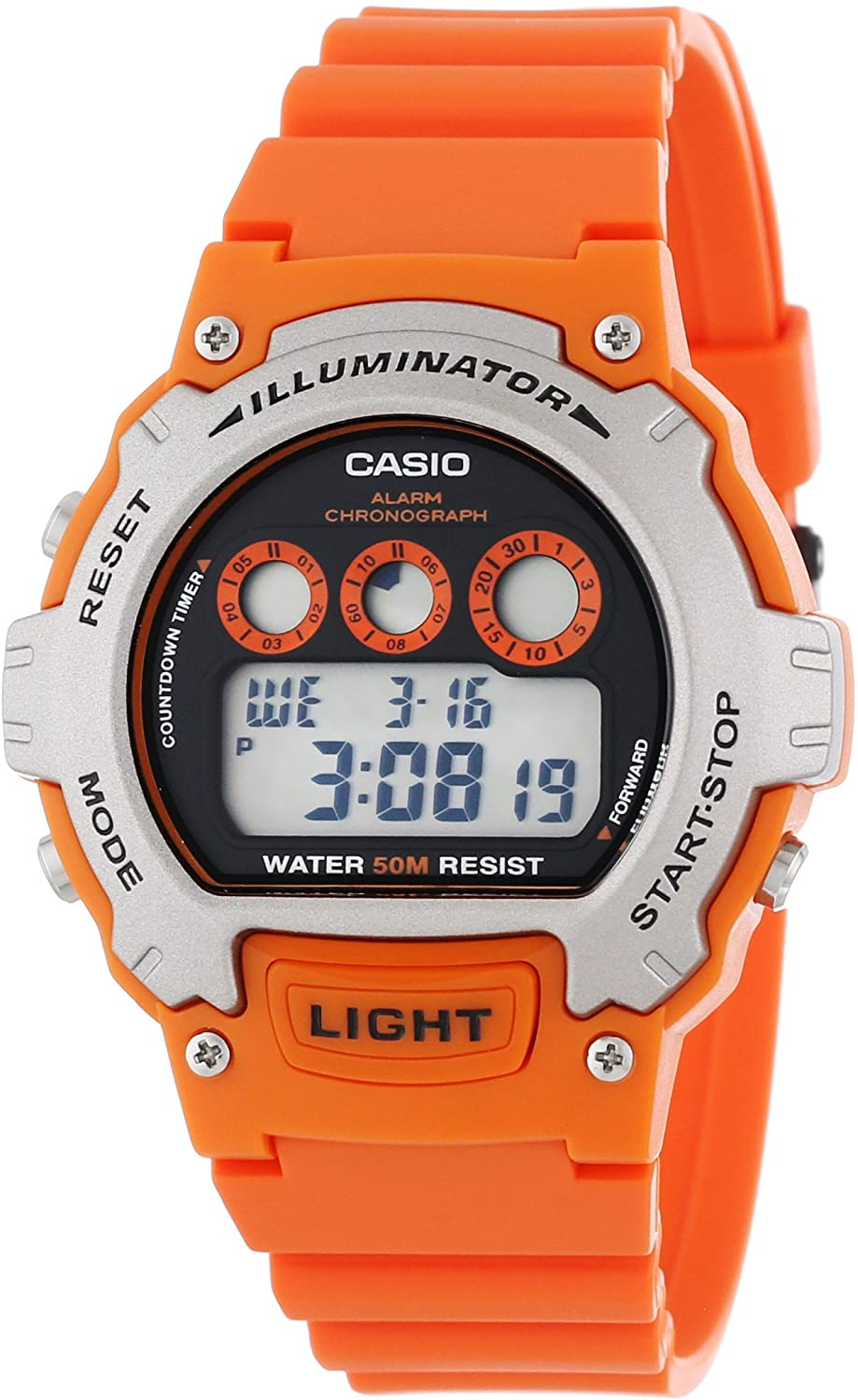 Casio Men's W-214H-4AVCF Chronograph Orange Watch