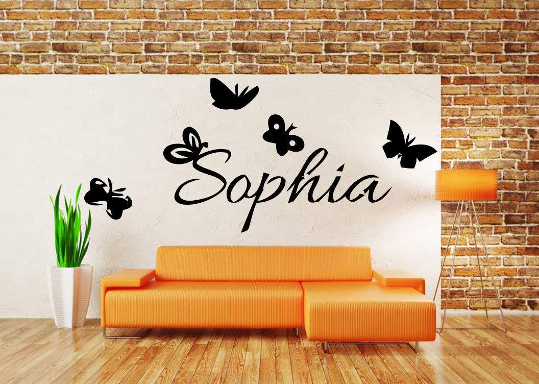 Sophia Girl Name Kids Room Nursery Wall Sticker Movies 小artoon Floral Vinyl Decal Mural Art Decor sr107