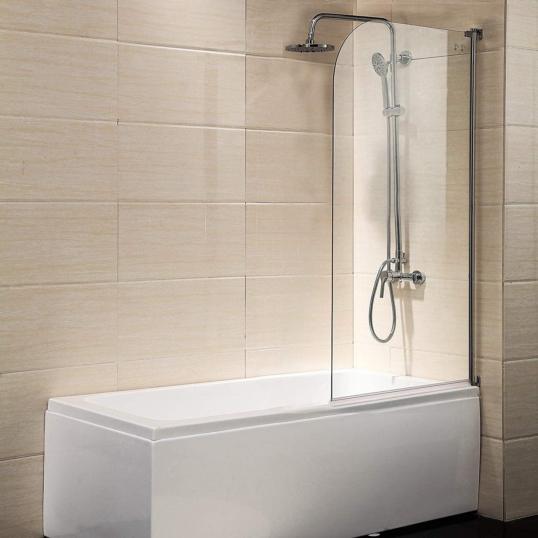 Mecor Clear Glass Bathtub Shower Door, 55