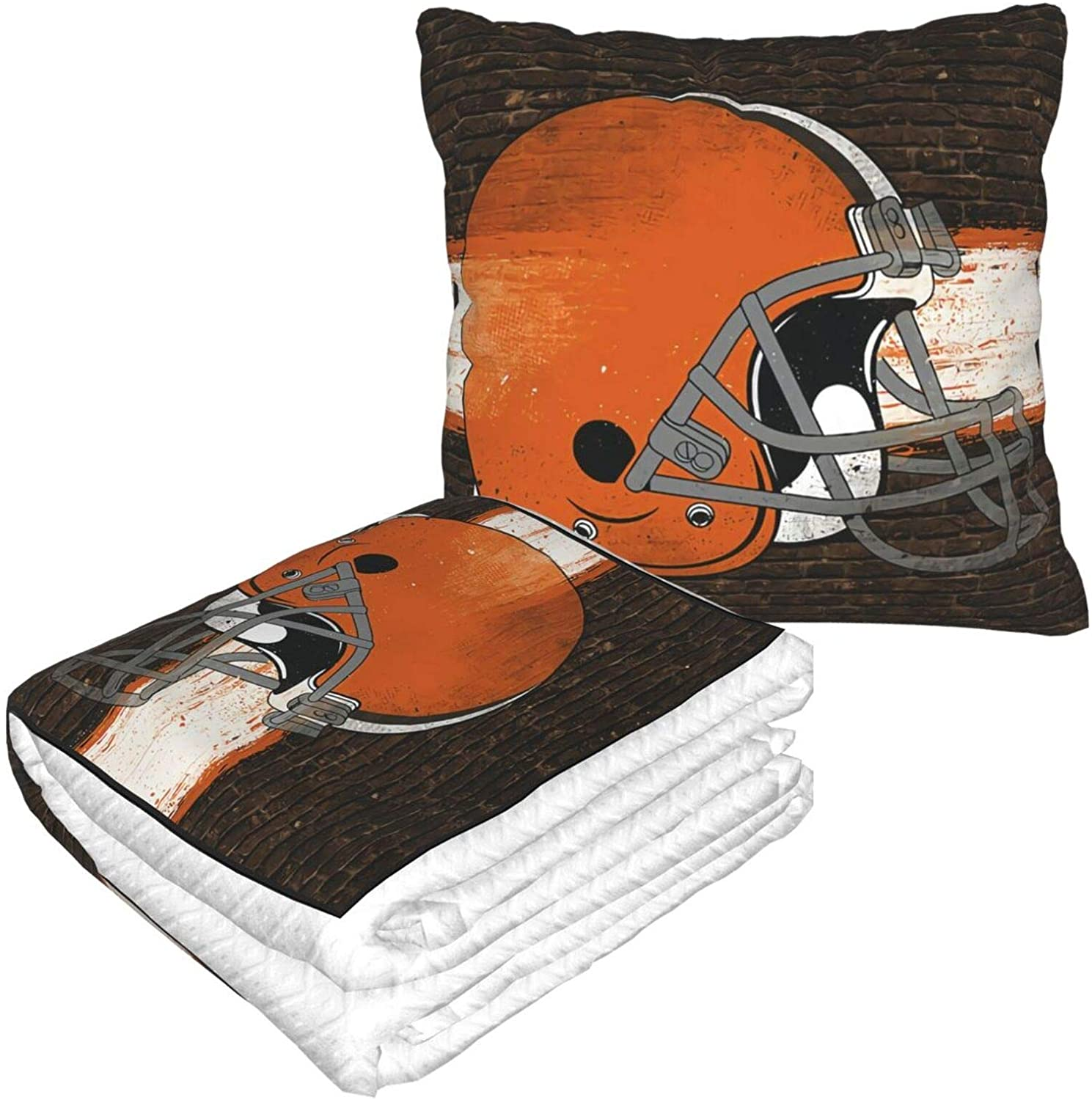 ALHOKLAus Football Cleveland Brown Pillow Blanket Sofa Blanket, Travel Blanket and Pillow 2-in-1 Combination Blanket, Warm Pillow Throw Blanket for beds, Sofas, Camping, Airplanes, etc.