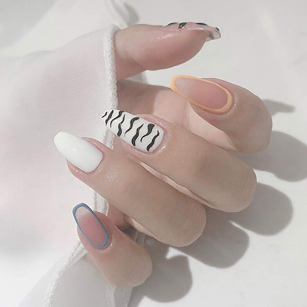 Fairyu Long Press on Nails White Leopard Fake Nails Artificial Nails for Women and Girls (24PCS)