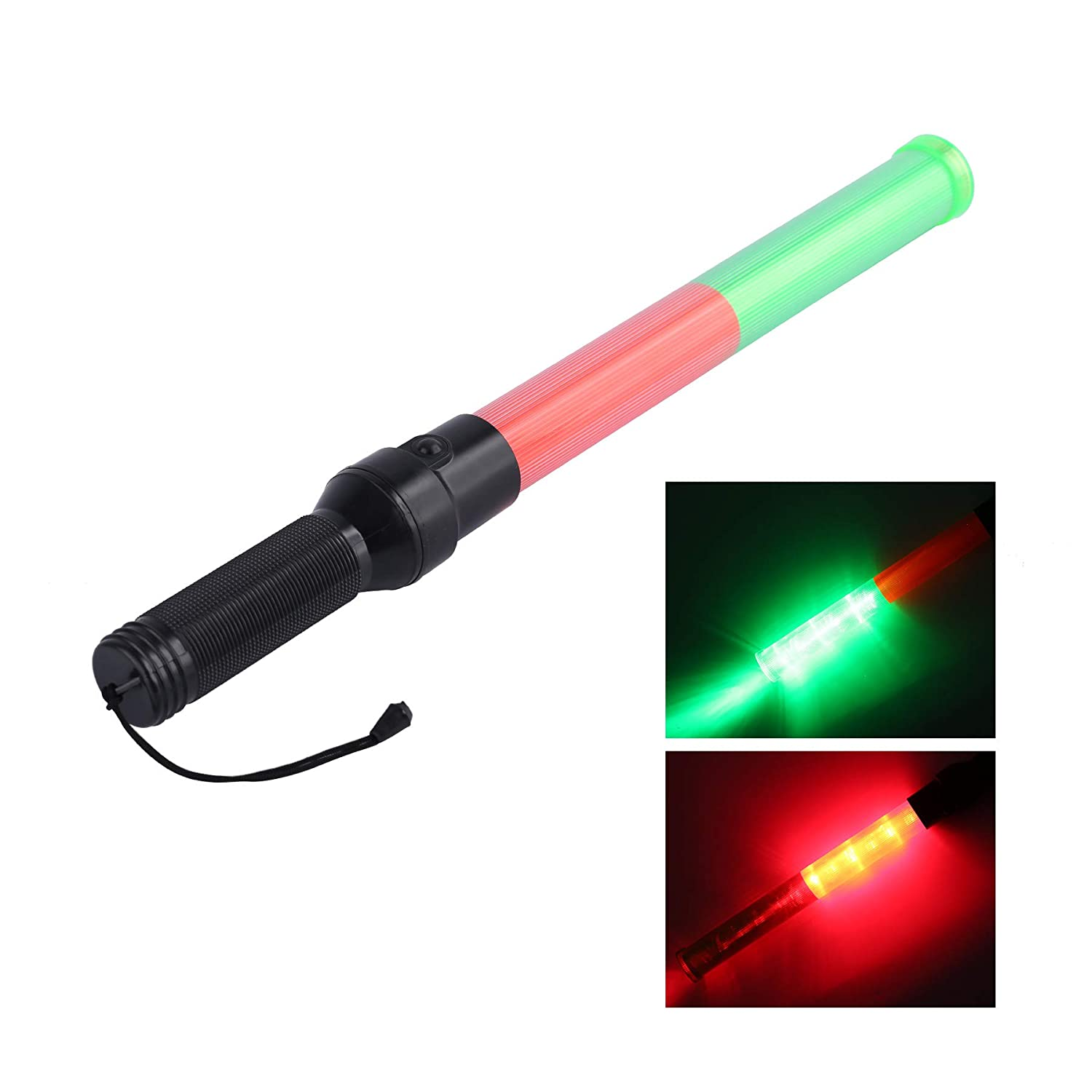 21inch Signal Traffic Safety Wand Baton Led Light with 3 Discoloration Flashing Modes,Signal Indicator Stick for Traffic Control Parking Guide, Using 2 D-Size Batteries Not Includ(Red&Green)