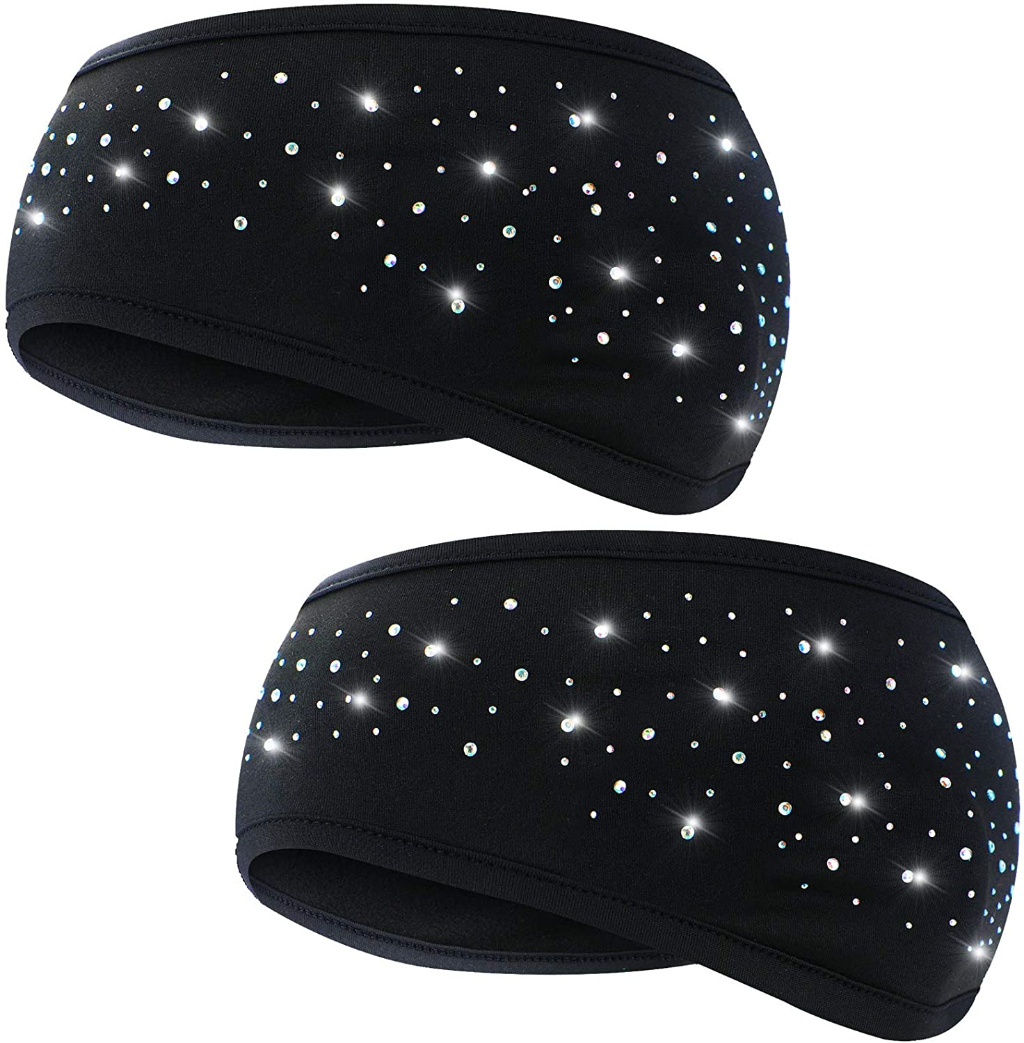 2 Pieces Diamond Women Ear Warmer Stretchy Winter Head Band for Sports
