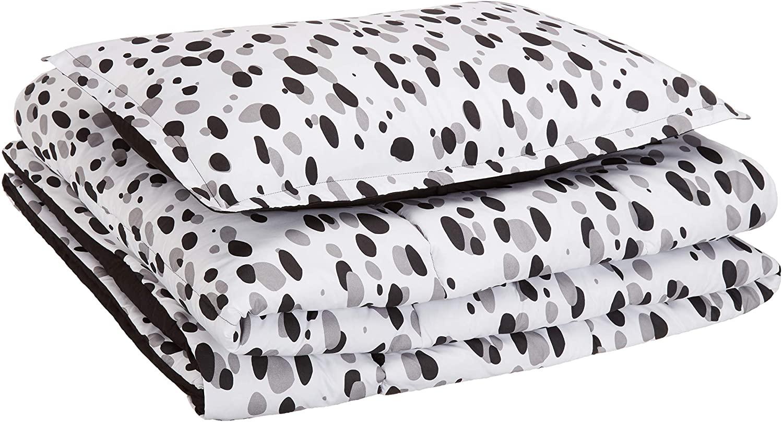 DHgateBasics Kid's Comforter Set - Soft, Easy-Wash Microfiber - Twin, Black Shadow Dots