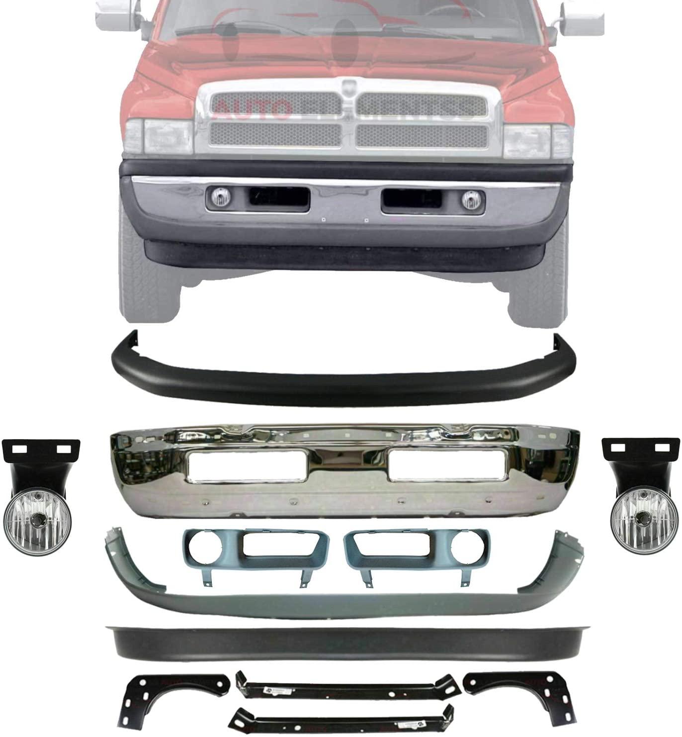 New Front Bumper Face Bar Chrome + Upper & Lower Cover + Valance + Inner & Outer Brackets + Fog Lamp Left Driver & Right Passenger Side For 1997-2001 Dodge Ram 1500/1997-2002 Ram 2500 3500