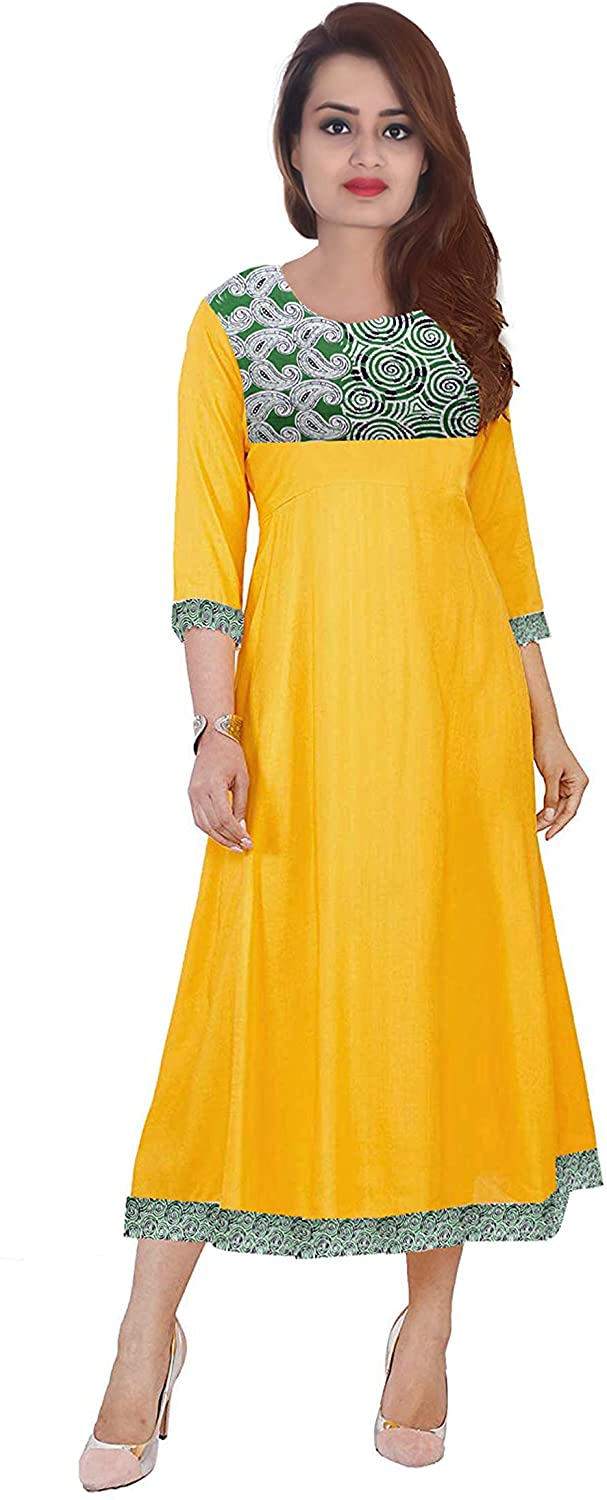 Lakkar Haveli Women's Long Dress Casual Wedding Wear Kurti Geometric Print Maxi Dress Yellow Color Plus Size