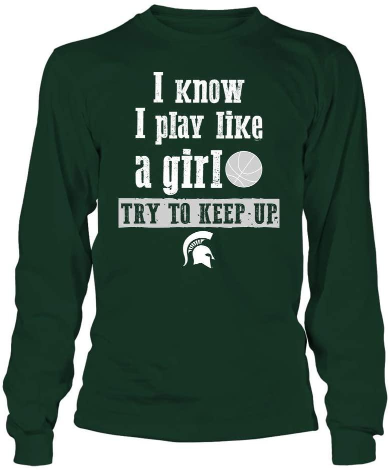 FanPrint Michigan State Spartans T-Shirt - Play Like A Girl - Basketball - Team - Longsleeve Tee/Forest Green/XL