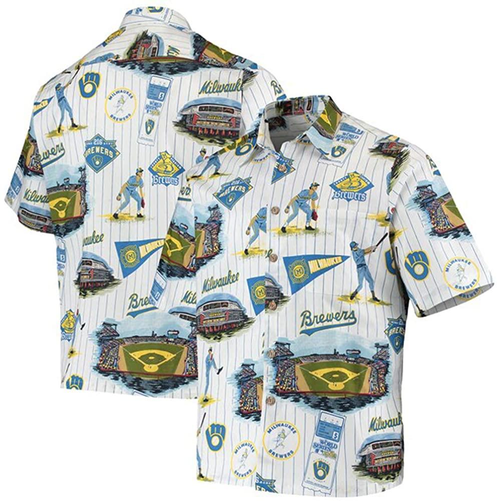Reyn Spooner Milwaukee Brewers Scenic Small Cotton MLB Hawaiian Shirt